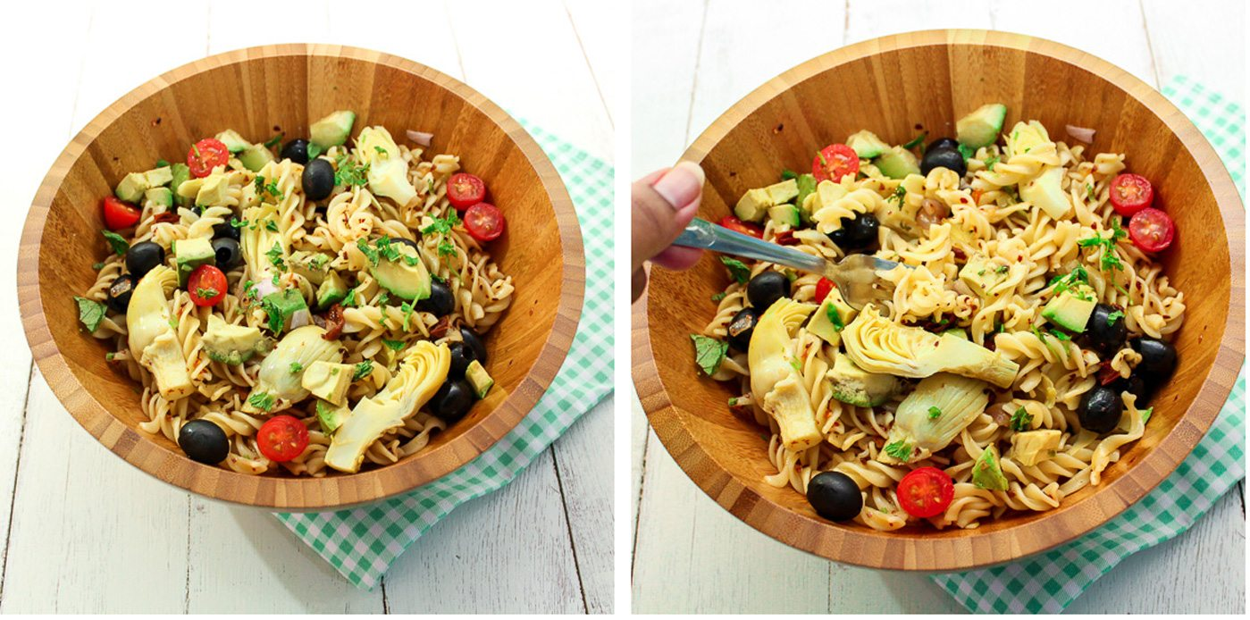 Avocado and artichoke pasta salad