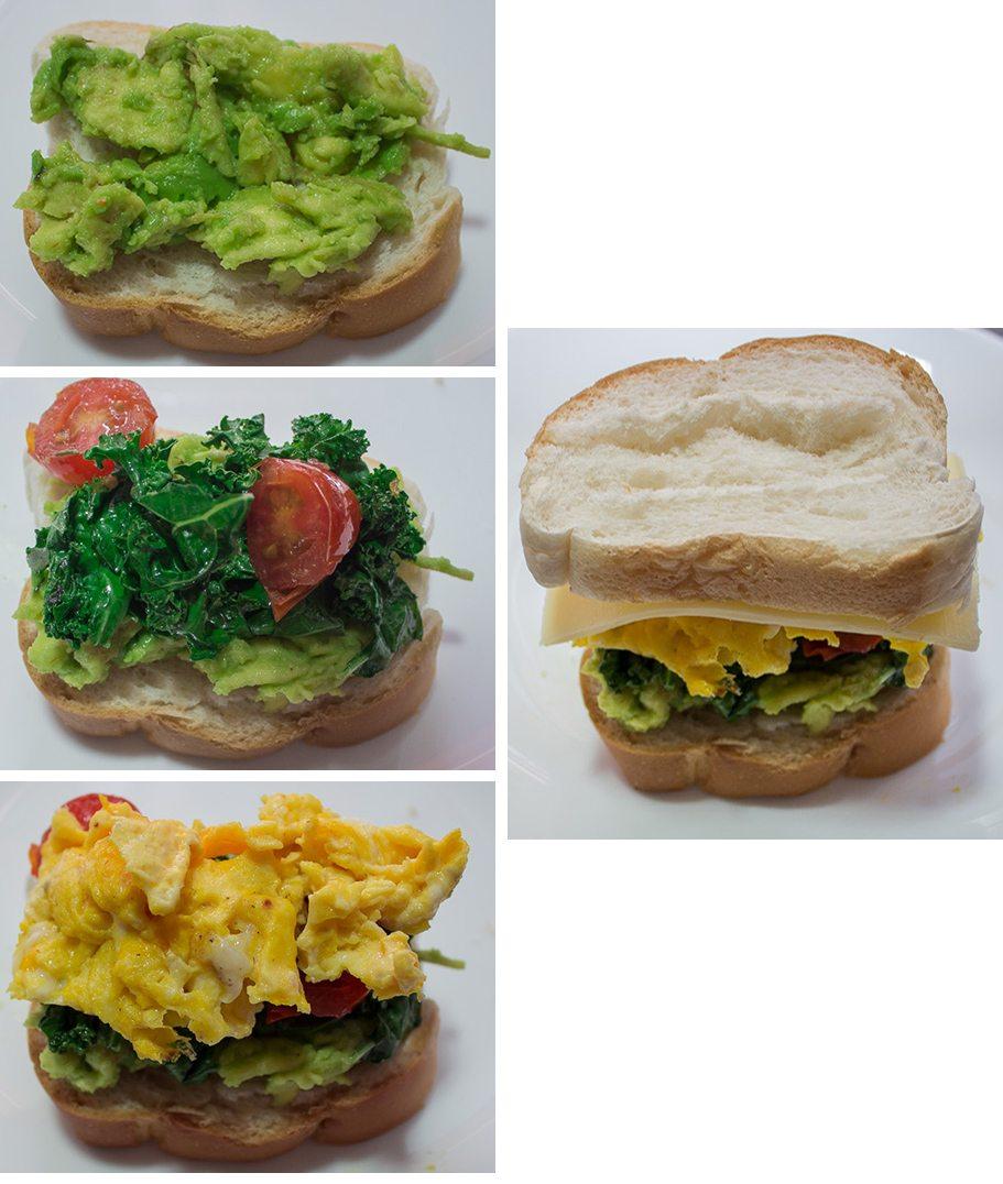 Avocado Egg and Kale Panini
