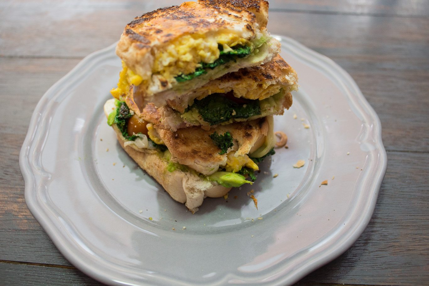 This Avocado, egg and kale Panini