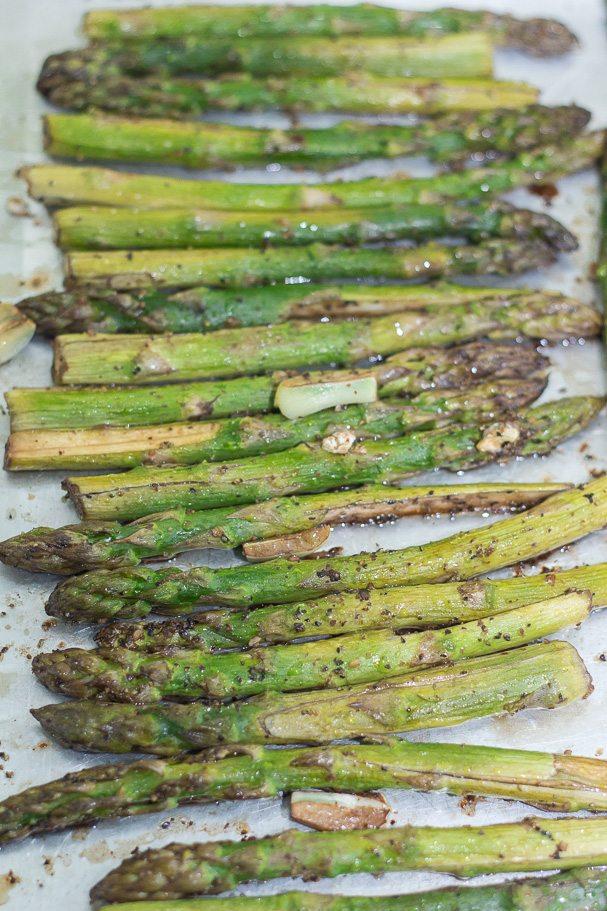 Roasted Asparagus in Balsamic Butter Vinaigrette