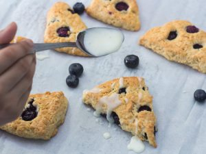 Blueberry Scones with Vanilla Glaze