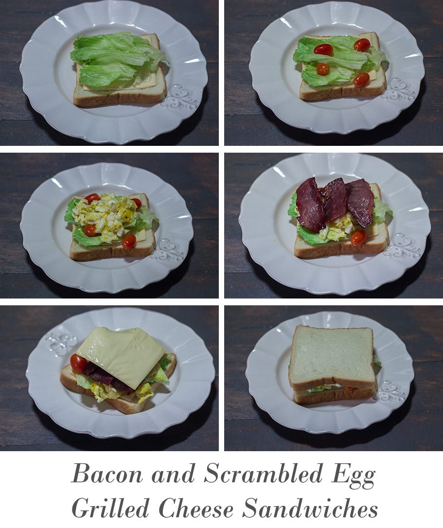 Bacon and Scrambled Egg Grilled Cheese Sandwiches