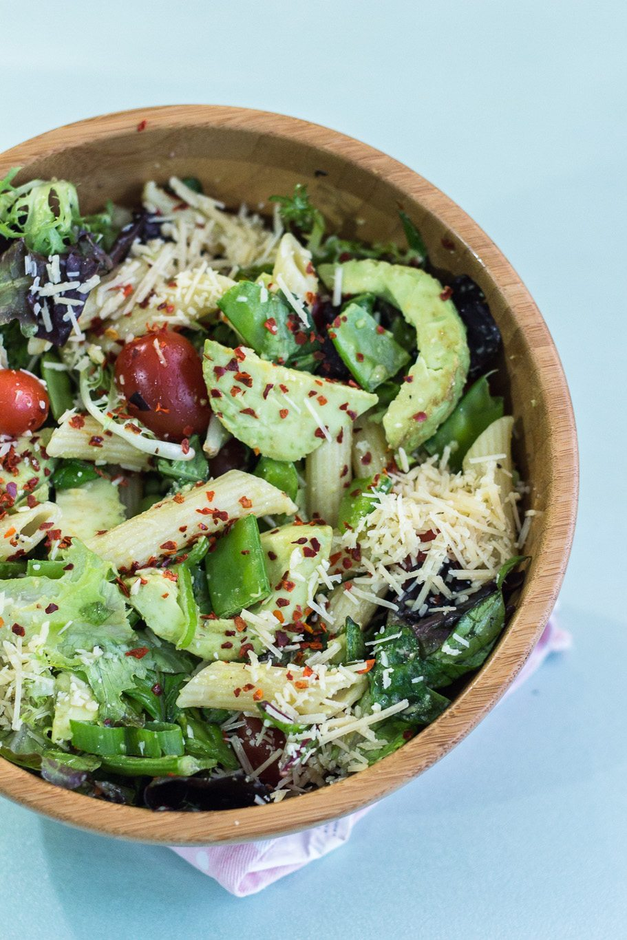 Delicious Pasta Salad with Avocado Dressing