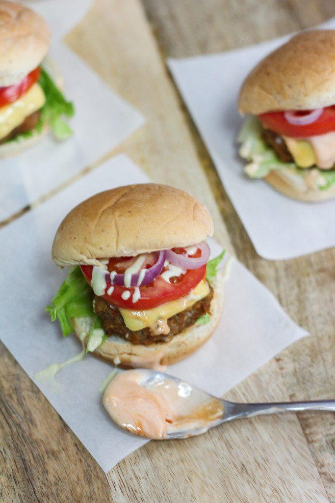 Beef Sliders with Sriracha Mayonnaise