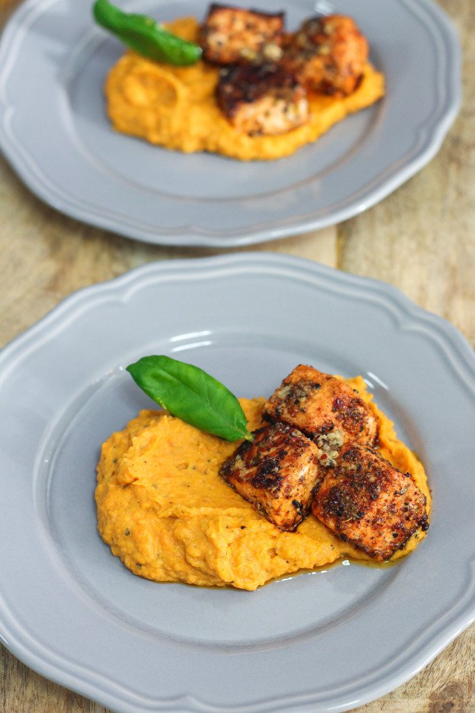 Salmon with Lemon Herb Butter and Garlic Mashed Sweet ...