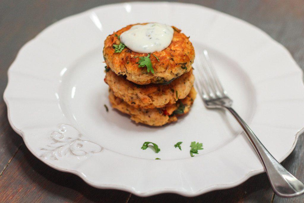 Thai Salmon Cakes and Corn Salad