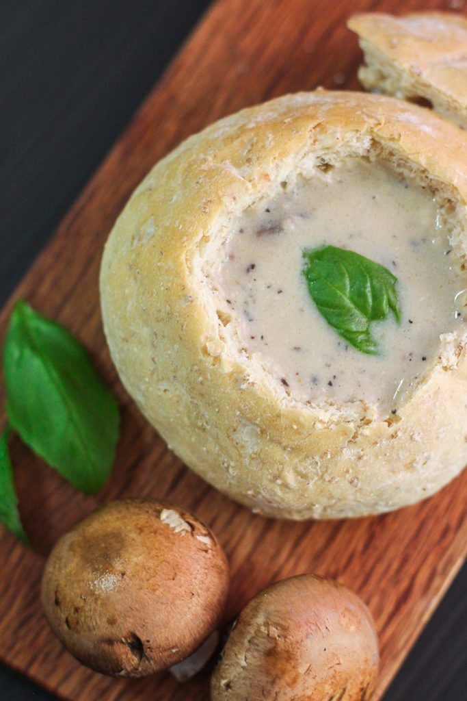 Creamy Mushroom Soup in Bread Bowls