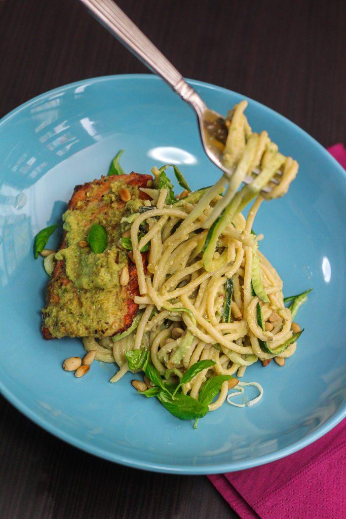 Delicious Pesto Spaghetti with Seared Salmon