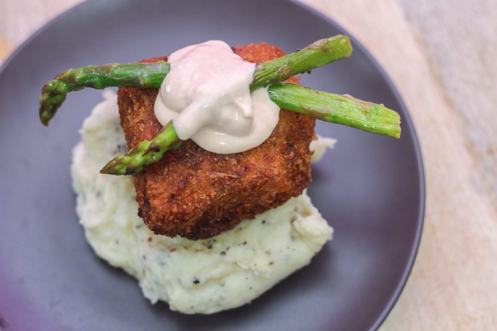 Crispy Cod with Mashed Potatoes and Creamy Chipotle Sauce