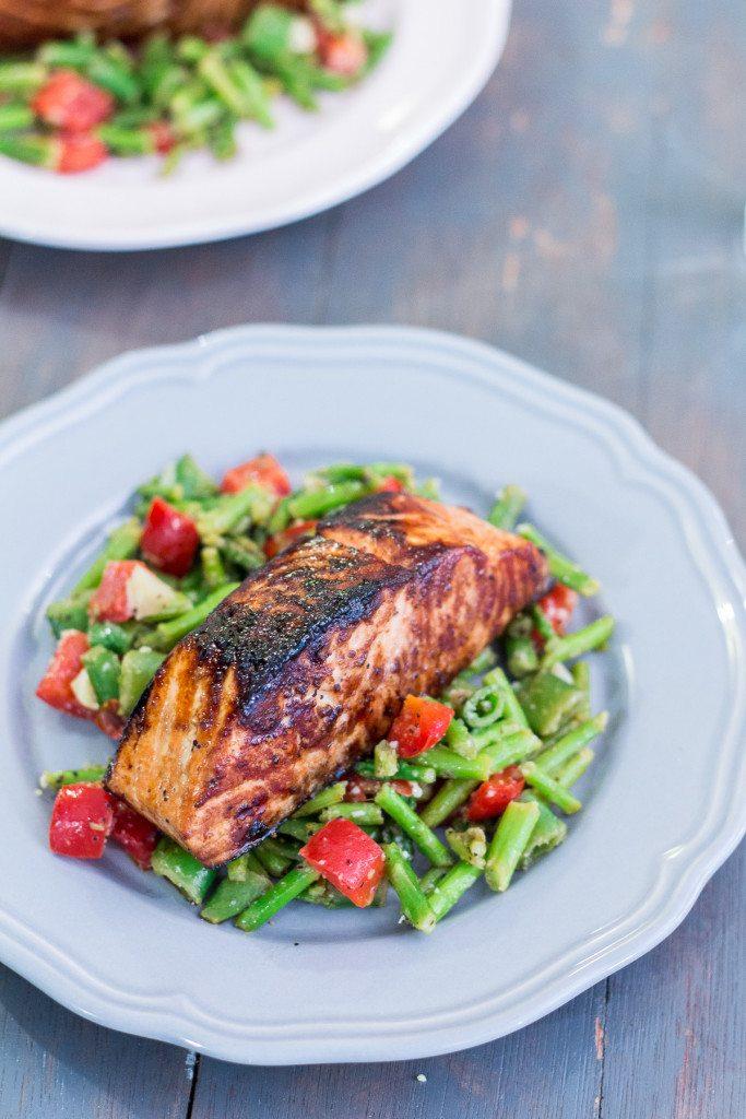 Honey Garlic Salmon with Warm Chopped Asparagus Salad