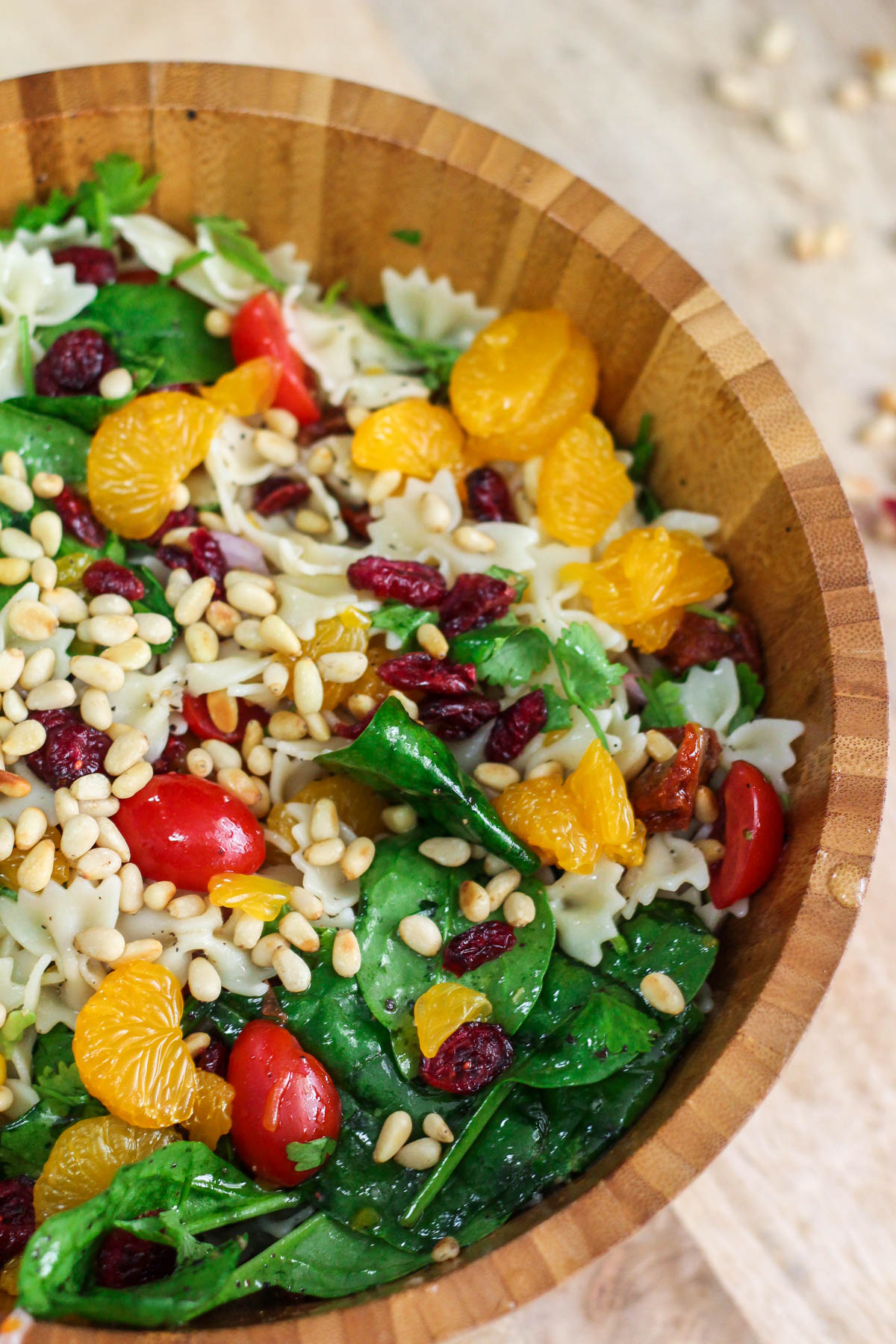 Farfalle with Spinach and Orange Salad