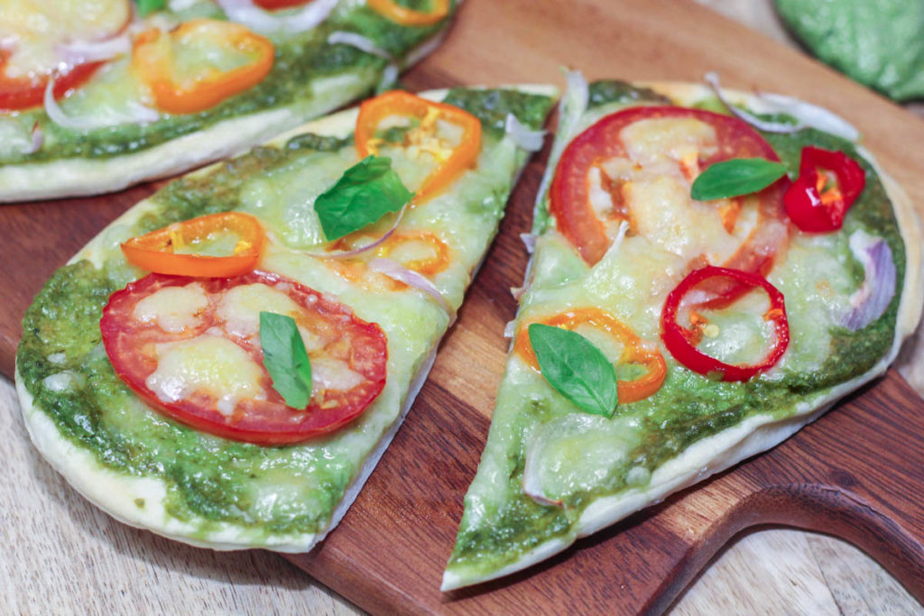 Delicious Pesto Naan Pizza